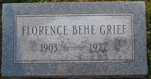 Florence Behe tombstone